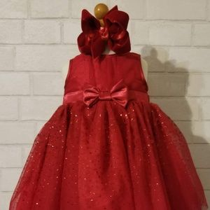 Toddler Girl Red Holiday Dress, 12 M